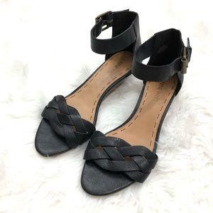 Nine West Valci 7.5 black wedge leather sandal
